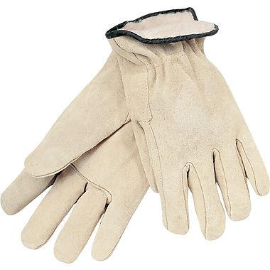 Memphis Gloves® Driver's Gloves, Split Cow Leather, Slip-On Cuff, X-Large, Tan, 12 Pairs