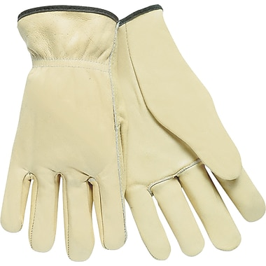 Memphis Gloves® Driver's Gloves, Cowhide Leather, Rolled Cuff, Large, Cream, 12 Pairs