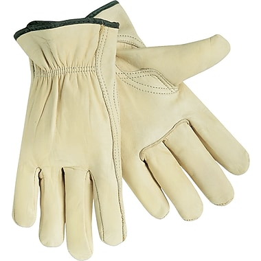 Memphis Gloves® Driver's Gloves, Cowhide Leather, Slip-On Cuff, Medium, Cream, 12 Pairs