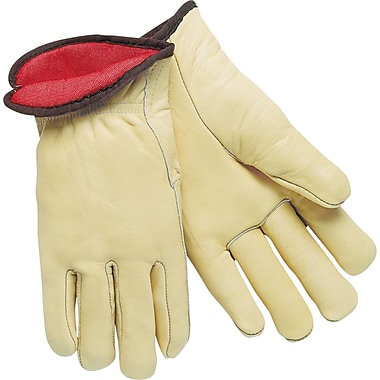 Memphis Gloves® Driver's Gloves, Red Fleece Lined Cow Leather, Slip-On Cuff, Large, Cream, 12 Pairs