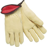 Memphis Gloves® Driver's Gloves, Red Fleece Lined Cow Leather, Slip-On Cuff, XLarge, Cream, 12 Pairs