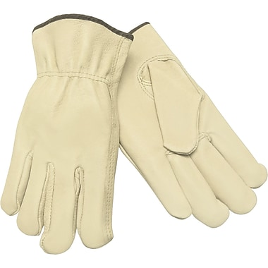 Memphis Gloves® Driver's Gloves, Lined Pigskin Leather, Slip-On Cuff, X-Large, Cream, 12 Pairs