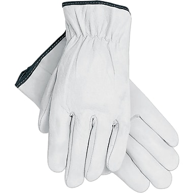 Memphis Gloves® Driver's Gloves, Goatskin Leather, Slip-On Cuff, X-Large, White, 12 Pairs