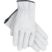 Memphis Gloves® Driver's Gloves, Goatskin Leather, Slip-On Cuff, Large, White, 12 Pairs