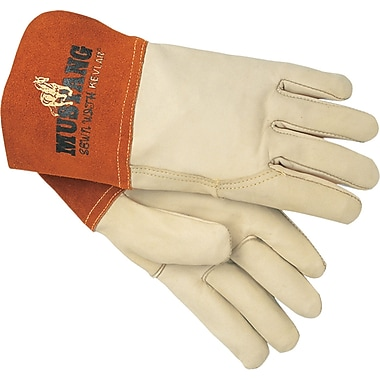 Memphis Gloves® Mustang® Welding Gloves, Cowhide Leather, Gauntlet Cuff, Medium, Cream, 12 Pairs
