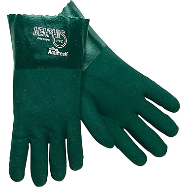 Memphis Gloves® Double Dipped Gloves, PVC, Gauntlet Cuff, Large, Green, 14in., 12 Pairs