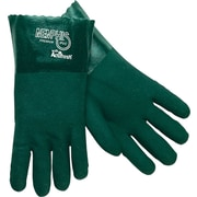 "Memphis Gloves® Double Dipped Gloves, PVC, Gauntlet Cuff, Large, Green, 14"", 12 Pairs"