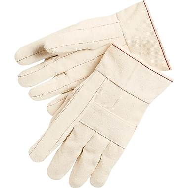Memphis Gloves® Double Palm Hot Mill Gloves, 100% Cotton, Band Top Cuff, Large, White, 12 Pairs