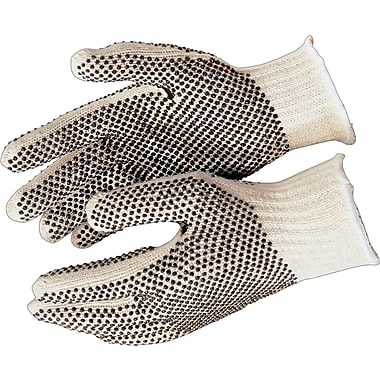 Memphis Gloves® 1 Side Dot String Knit Gloves, PVC, Knit-Wrist Cuff, Large, Natural, 12 Pairs