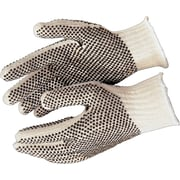 Memphis Gloves® 2 Sided Dot String Knit Gloves, PVC, Knit-Wrist Cuff, Large, Natural, 12 Pairs