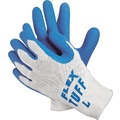 Memphis Gloves® Flex-Tuff® Coated Gloves, Cotton, Knit-Wrist Cuff, Large, White/Blue