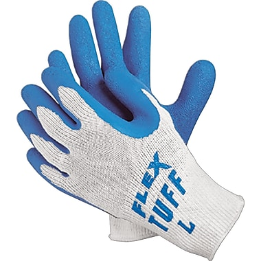 Memphis Gloves® Flex-Tuff® Coated Gloves, Cotton, Knit-Wrist Cuff, White/Blue, 12 Pair