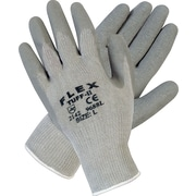 Memphis Gloves® Flex-Tuff II® Coated Gloves, Cotton/Polyester, Knit-Wrist Cuff, Large, Grey
