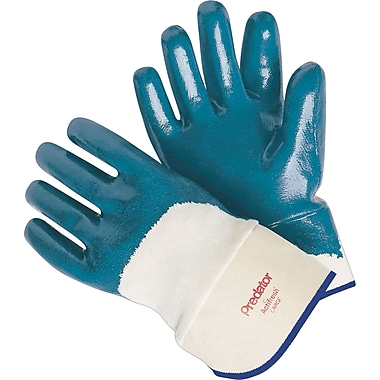 Memphis Gloves® Predator® Palm Coated Gloves, Nitrile, Lined Safety Cuff, Large, Blue