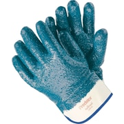 Memphis Gloves® Predator® Fully Coated Gloves, Nitrile, Lined Safety Cuff, Large, Blue