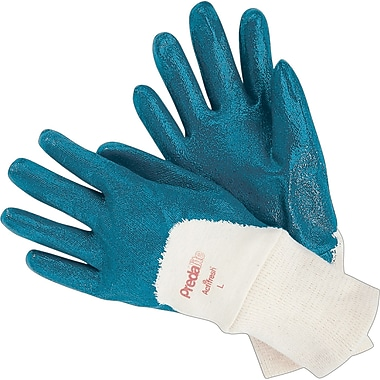 Memphis Gloves® Predalite® Palm Coated Gloves, Nitrile, Knit-Wrist Cuff, Large, Blue