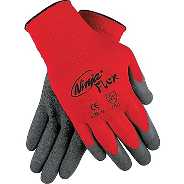 Memphis Gloves® Ninja® Coated Gloves, 100% Nylon, Knit-Wrist Cuff, Medium, Grey/Red