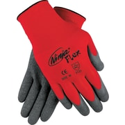 Memphis Gloves® Ninja® Coated Gloves, 100% Nylon, Knit-Wrist Cuff, Large, Grey/Red