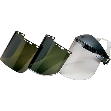 Jackson Safety® Face Shields, Polycarbonate, IRUV 5.0, 8x15-1/2in., Clear, Spark & Light