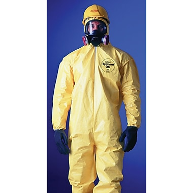 DuPont® Tychem® QC Coveralls, 2XL Size, Front Zipper Closure, Yellow, 12/Carton