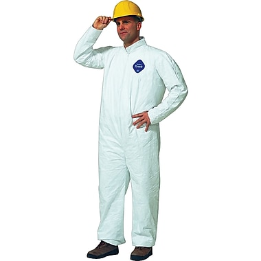 DuPont® Tyvek® Coveralls, 2XL Size, Front Zipper, White, Serged Seams, 25/Carton