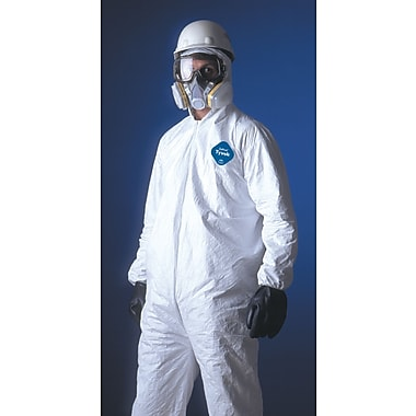 DuPont® Tyvek® Coveralls, 2XL Size, Attached Hood, Front Zipper, White, Serged Seams, 25/Carton