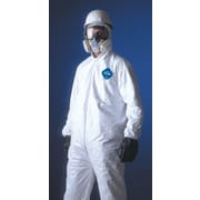 DuPont® Tyvek® Coveralls, XL Size, Collar, Front Zipper, White, Serged Seams, 25/Carton