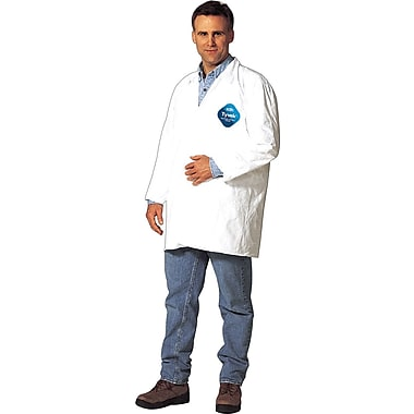 DuPont® Tyvek® Lab Coats, XL Size, Front Snap Closure, White, Serged Seams