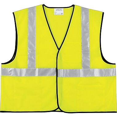 MCR Safety® Class II Economy Safety Vests,  Polyester, Hook & Loop, L Size, Lime
