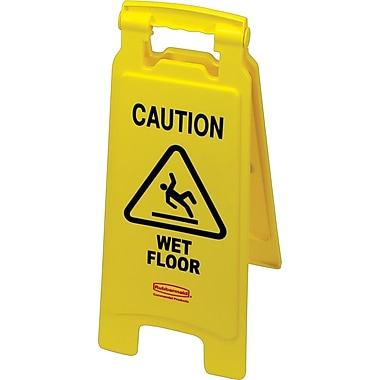 Rubbermaid Commercial Caution Floor Sign,  Yellow, 26in. Length