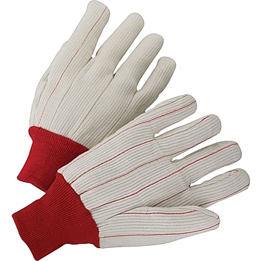 Anchor Brand Canvas Gloves, Cotton, Knit-Wrist Cuff, Men's Size, Red Cuff, Off-White