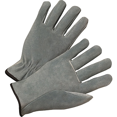 Anchor Brand Economy Driver Gloves, Cowhide Leather, Hemmed Cuff, Pearl Grey, 12 Pairs