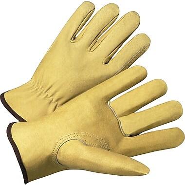 Anchor Brand Premium Driver Gloves, Grain Pigskin, Hemmed Cuff, X-Large, Beige, 12 Pairs