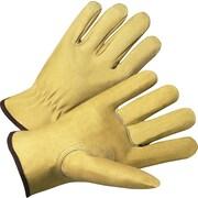 Anchor Brand Premium Driver Gloves, Grain Pigskin, Hemmed Cuff, Large, Beige, 12 Pairs