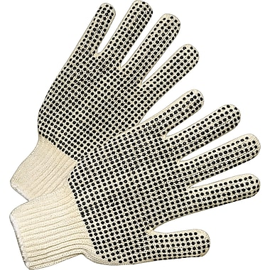 Anchor Brand Dot String Knit Gloves, Cotton/Polyester, Knit-Wrist Cuff, Men's Size, White, 12 Pairs