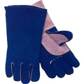 Anchor Brand Standard Quality Welding Gloves, Split Cowhide, Leather Cuff, Large, Blue