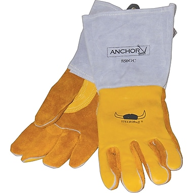 Anchor Brand Premium Welding Gloves, Grain Cowhide, Leather Cuff, Large, Gold