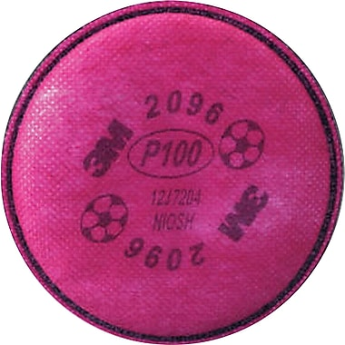 3M OH&ESD Particulate Filters, P100, Acid Gases, 2/Pack