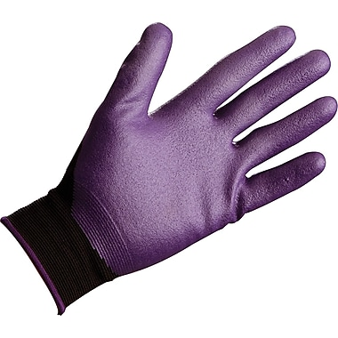 Jackson Safety® Foam Coated Gloves, Nitrile, Knit-Wrist Cuff, Large, Purple, 12 Pairs