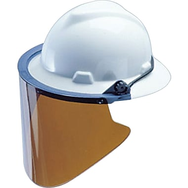 MSA Safety® Polycarbonate Visors, 8x3/8in., Formed, Clear, V-Gard Caps and Hats