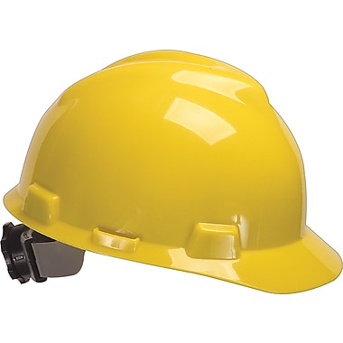 MSA Safety® V-Gard® Slotted Protective Caps and Hats, Polyethylene, Standard, Staz-On, Cap, Yellow