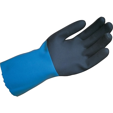 MAPA Professional® Stanzoil® Coated Gloves, Neoprene, Pinked Cuff, Large, Blue/Black