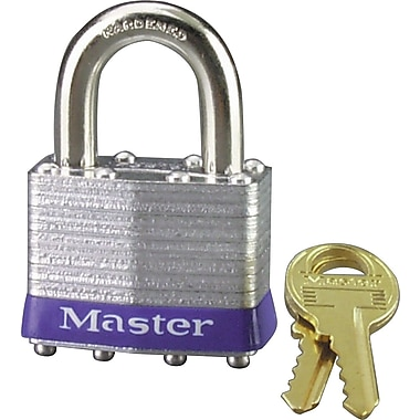 Master Lock® Safety Tumbler Padlocks, 4 pin, Laminated Steel, 3/8in. Shackle, Keyed Different