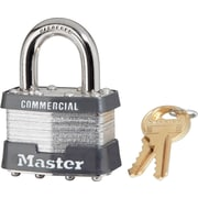Master Lock® Tumbler Padlocks, 4 Pin, Laminated Steel, Keyed Different, Commercial Carded, 4/Box