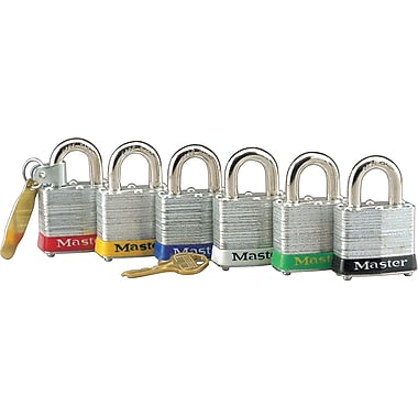 Master Lock® Safety Tumbler Padlock, 4 pin, Laminated Steel, Red, 6/Box