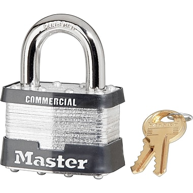 Master Lock® Tumbler Padlocks, 4 Pin, Laminated Steel, Keyed Different, 4/Box