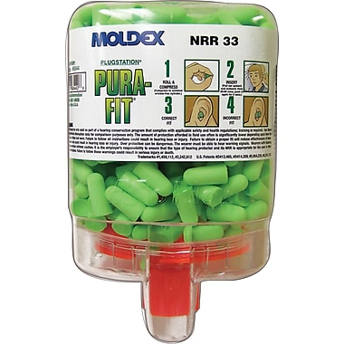 Moldex® Pura-Fit® PlugStation® Uncorded Earplug Dispensers; Bright Green, 33 dB, 250/Box
