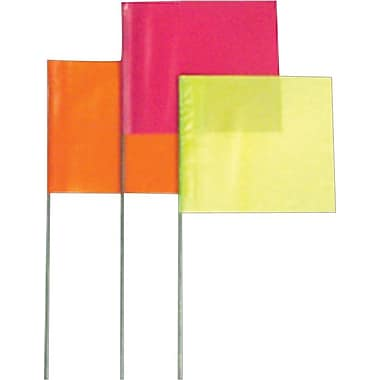 Presco Stake Flags, Orange Glo, 21in. Length, 100/Carton