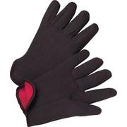 Anchor Brand Jersey Gloves, Cotton, Slip-On Cuff, Men's Size, Brown, Red Lining