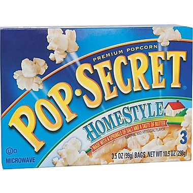 Pop Secret Microwave Popcorn, Homestyle, 3.5 oz. Bags, 3 Bags/Box